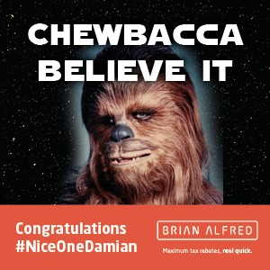 Damian Lister is the winner of our official Star Wars giveaway.